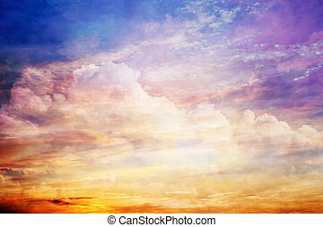 fantasie, sonnenuntergangshimmel, mit, erstaunlich, wolkenhimmel, und, sonne, light.