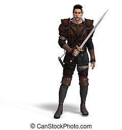 fantasie, stijl, vechter, met, sword., met, knippend pad