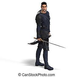 fantasie, stil, kämpfer, mit, sword., mit, ausschnitt weg
