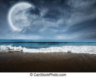 fantasie, strandscène, met, groot, maan