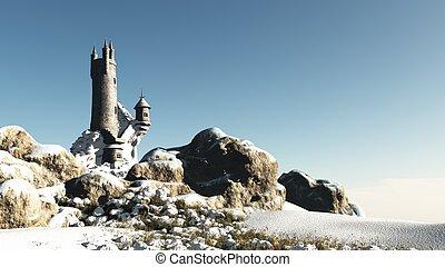 fantasie, toren, in, de, sneeuw