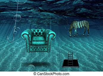 fantasie, underwater, szene