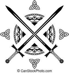 fantasie, variant, vijfde, swords.