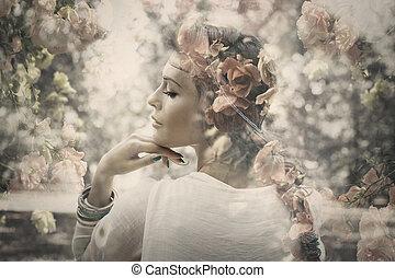 fantasie, vrouw, dubbele blootstelling