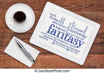 fantasie, woord, wolk, op, tablet