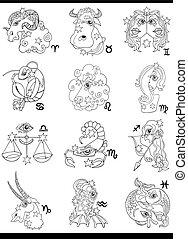 fantasie, zodiac, horoscoop, tekens & borden
