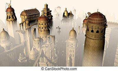 fantasien, 3, byen, form, fortid, til, fremtid