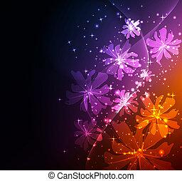 fantasien, abstrakt, baggrund, blomstrede