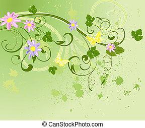 fantasien, blomst, grunge