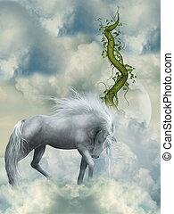 fantasien, hvid hest
