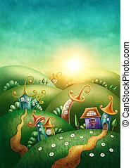 fantasien, landsby