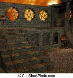 fantasien, tempel, hos, dawn., 3, gengivelse, i, en, fantasien, tema, by, baggrund, usage.