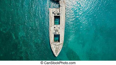 fantasma, aéreo, naufragio, zángano, vasija, viejo, barco, vista
