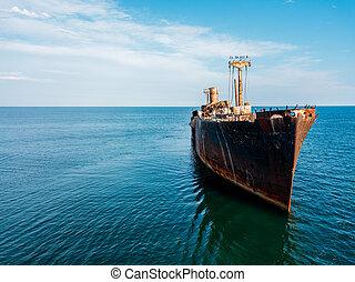 fantasma, aéreo, naufragio, zángano, viejo, barco, vista