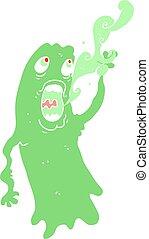 fantasma, apartamento, ilustração, cor, caricatura
