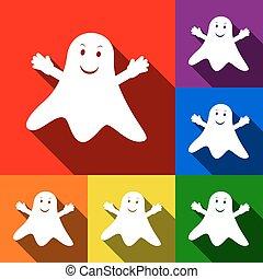 fantasma, apartamento, sombras, jogo, ícones, sinal., azul, isolado, laranja, amarela, experiência., vector., violeta, verde, vermelho