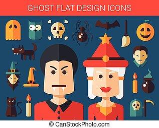 fantasma, appartamento, progetto serie, icone