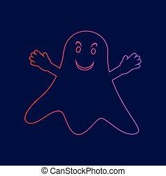 fantasma, azul, gradiente, sinal., isolado, escuro, experiência., cores, vector., violeta, linha, vermelho, ícone