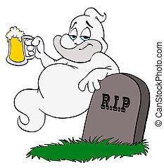 fantasma, bebida, halloween, cerveza