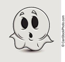 fantasma, carino, emoticon, abbicare, cartone animato