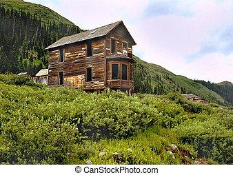 fantasma, casa, pueblo, abandonado