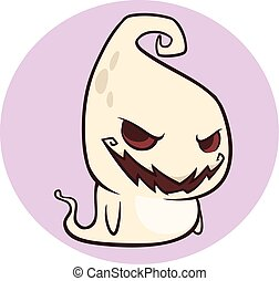 fantasma, cute, personagem, dia das bruxas, isolado, ilustração, experiência., vetorial, bebê, genie, branca, caricatura
