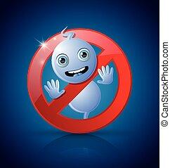fantasma, cute, proibição, sinal