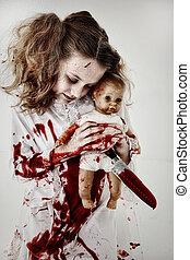 fantasma, doll., zombi, sangre, sostener a niño, bebé, cubierto, niña, o, cuchillo