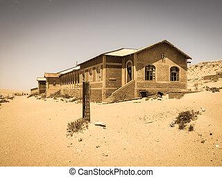 fantasma, edificios, de, viejo, diamante, minería, pueblo, kolmanskop, en, namibia