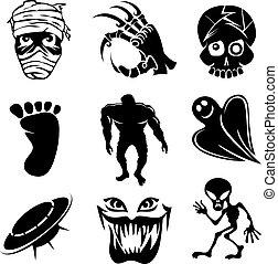 fantasma, extranjero, conjunto, ghouls, iconos