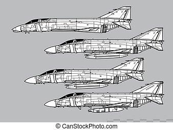 fantasma, f-4c, vector, ii., contorno, douglas, f-4d, ...