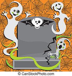 fantasma, festa, halloween, invito
