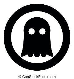 fantasma, imagem a cores, ilustração, simples, vetorial, pretas, ícone