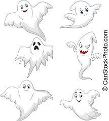 fantasma, lindo, conjunto, caricatura, colección