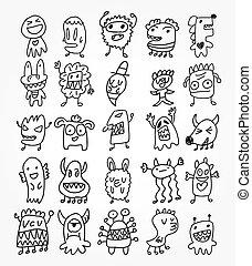fantasma, mano, disegnare, elemento