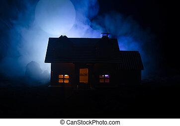 fantasma, moon., pieno, vecchio, abbandonato, grande, orrore...