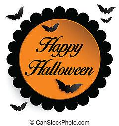 fantasma, morcego, dia das bruxas, fundo, feliz, ícone
