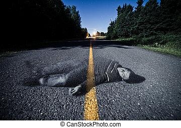 fantasma, morto, meio, body's, vazio, estrada