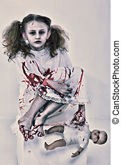 fantasma, muñeca, zombi, sangre, niño, bebé, cubierto, niña, o