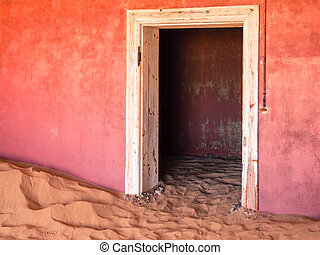 fantasma, pueblo, abandonado, dunas, casa,  Kolmanskop, arena,  Namibia