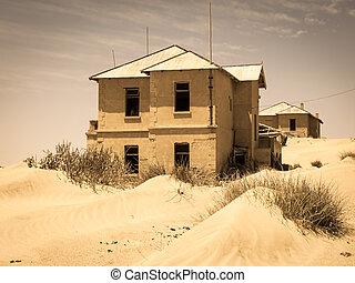 fantasma, pueblo, edificios, diamante, viejo,  Kolmanskop, minería,  Namibia