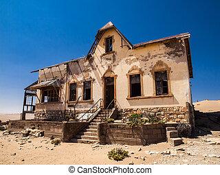fantasma, pueblo,  quartermaster's,  Kolmanskop, casa