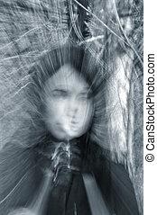 fantasma, ritratto, ragazza