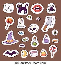 fantasma, símbolos, outubro, carnaval, patchwork, spooky, sinal., dia das bruxas, ilustração, tradicional, outono, vetorial, arrepiado, medo, abóbora