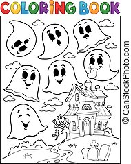 fantasma, tema, libro colorante, 4