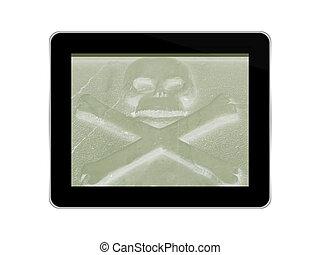 fantasmagórico, crânio crossbones, ligado, genérico, tabuleta, -, perigo, online