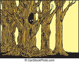 fantasmal, árboles