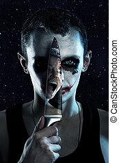 fantasmal, cuchillo, hombre