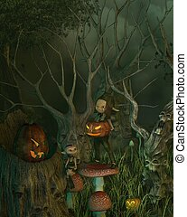 fantasmal, duende, halloween, bosque
