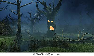 fantasmal, fantástico, noche, árboles, pantano